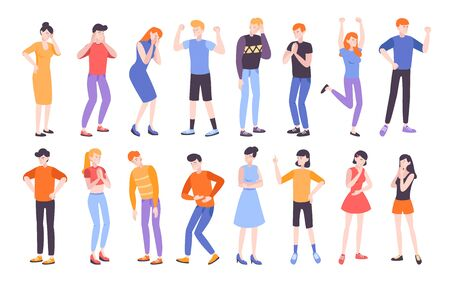 People expressing different emotions flat composition vector illustration Çizim
