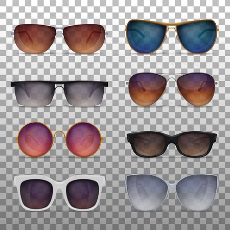 Sunglasses realistic set on transparent background with various models of modern fashionable sun goggles colourful images vector illustration