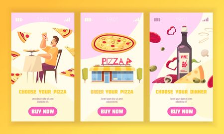 Three pizza vertical banner set with choose and order your pizza and choose your dinner descriptions vector illustration  イラスト・ベクター素材