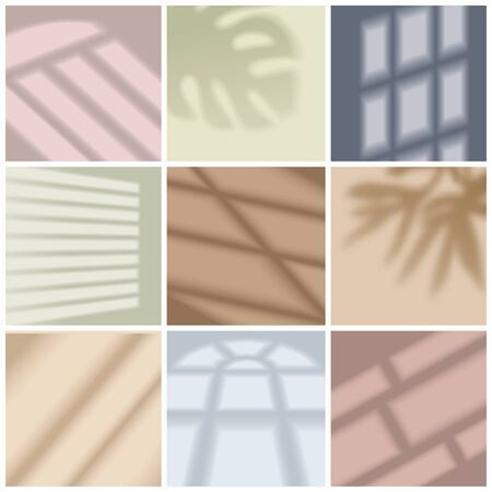 Window light and shadow bright realistic set isolated vector illustration