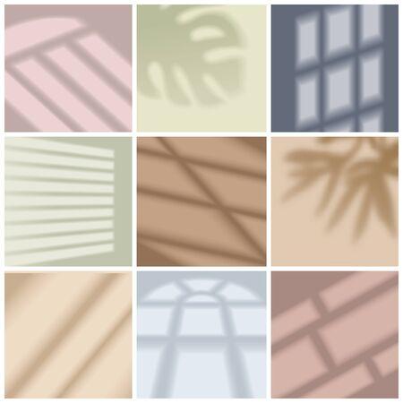 Okna jasne i cień jasny realistyczny zestaw ilustracji wektorowych na białym tle Ilustracje wektorowe