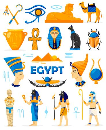 Conjunto de colores de Egipto de personajes de doodle aislados con dioses y adoradores, ropa antigua, antigüedades y jeroglíficos, ilustración vectorial