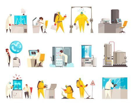 Microbiology laboratory set with isolated human characters of scientists in suits with lab equipment and facilities vector illustration