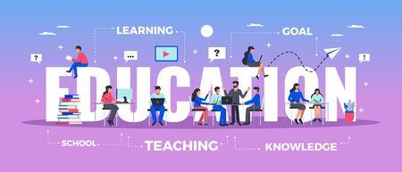 Horizontale Typografiefahne der Bildung stellte mit flacher Vektorillustration der Lern- und Wissenssymbole ein Vektorgrafik