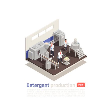 Detergent production isometric composition with modern equipment bottling line and assistants testing finished product vector illustration