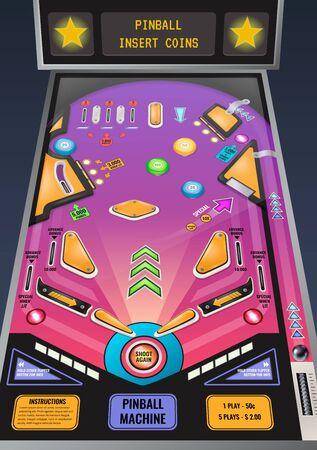 Máquina de pinball lista para jugar composición realista del juego con luces intermitentes e insertar ilustración de vector de mensaje de monedas