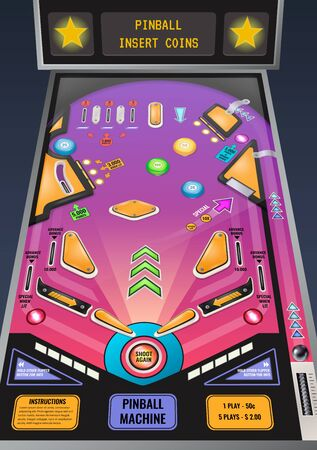 Pinball machine ready to play game realistic composition with flashing lights and insert coins message vector illustration