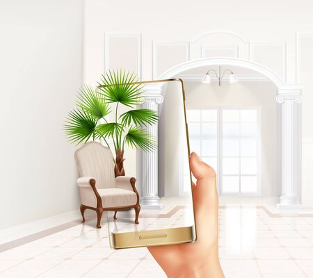 Smartphone augmented virtual reality touch screen interior application helps placing plants and furniture realistic composition vector illustration