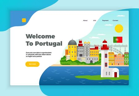 Explore Portugal page desidn with payment and contact symbols flat vector illustration