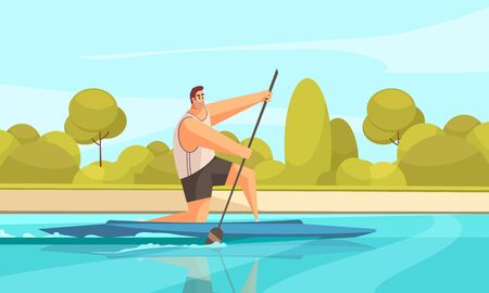 Summer sport canoeing composition with outdoor river landscape with green banks and human character of canoeist vector illustration