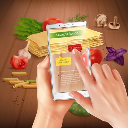 Smartphone augmented virtual reality touch screen cooking application recognizing lasagna ingredients suggesting recipe realistic composition vector illustration  일러스트