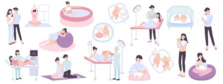 Flat collection of pregnancy childbirth and maternity scenes with young parents doctors and newborn children isolated vector illustration