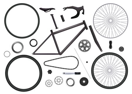 Bicycle parts set of isolated monochromatic images with bike elements for hand assembling on blank background vector illustration