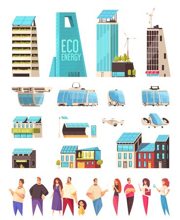 Smart city housing business center facilities citizens smartphone notifications system service transportation technology flat set vector illustration  Illustration