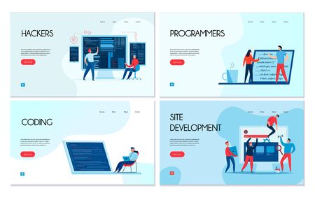 Flat design set of four horizontal banners with hackers and programmers at work isolated vector illustration