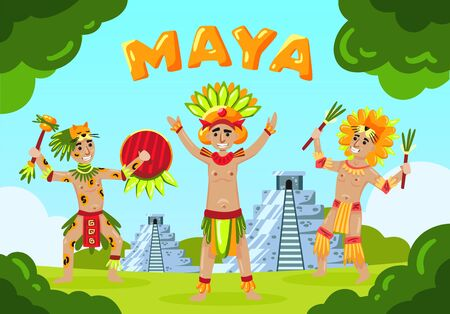 Maya civilization landscape composition with text and cartoon style mayan tribe members in front of pyramids vector illustration