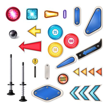 Pinball machine play field parts realistic collection with steel ball plunger flashing lights traps isolated vector illustration
