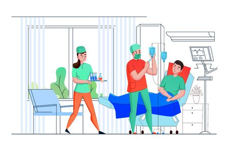 Hospital intensive care unit team nurses deliver medical assistance and support to patient flat composition vector illustration Illusztráció