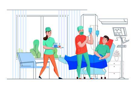 Krankenschwestern des Krankenhaus-Intensivstationsteams bieten medizinische Hilfe und Unterstützung für die flache Zusammensetzungsvektorillustration des Patienten
