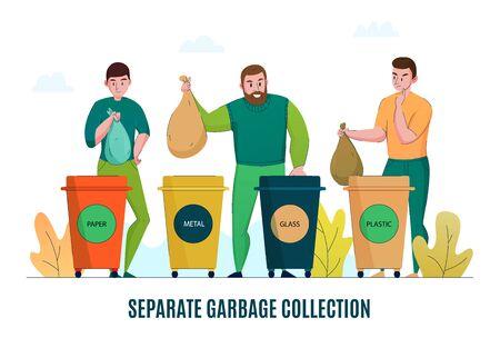 Medio ambiente de desperdicio cero, recolección de basura consciente, clasificación, separación de materiales de reciclaje, procesamiento de ilustración de vector de banner de promoción horizontal plana