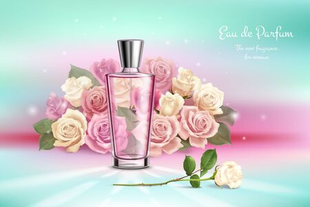 Realistic composition with  bouquet of roses perfume vial and advertising of new fragrance for woman vector illustration
