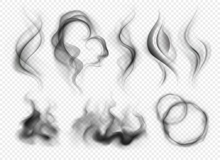 Set of realistic grey smoke and steam from coffee tea cigarettes or hot food isolated on transparent background vector illustration Archivio Fotografico - 128161149