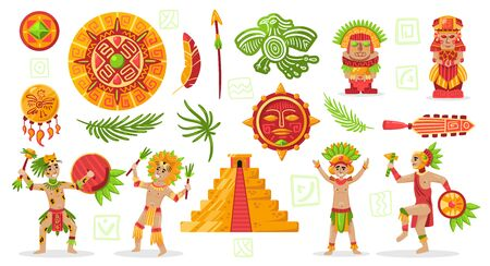 Maya civilization culture set with doodle style characters of mayan natives and tribal jewelry diy items vector illustration