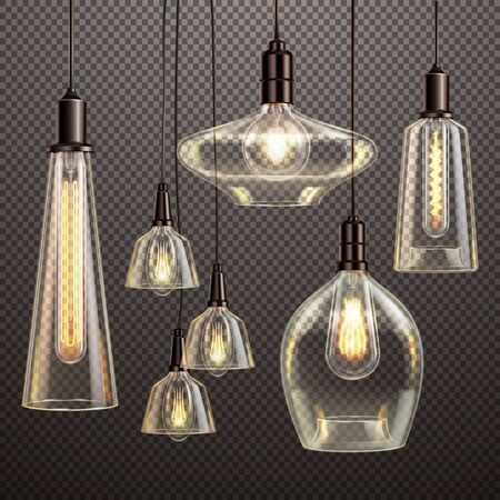 Hanging clear glass lamps with glowing filament antique led light bulbs realistic dark gradient transparent set vector illustration