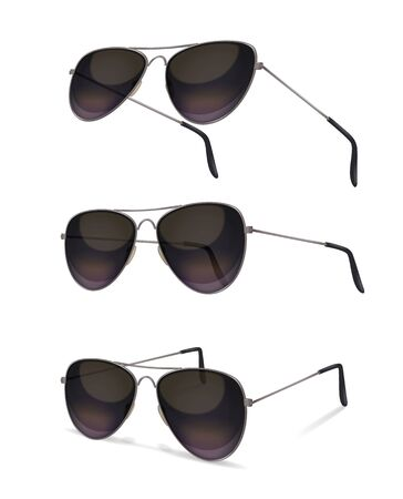 Sunglasses set with realistic images of aviator sunglasses from various angles with shadows on blank background vector illustration Reklamní fotografie - 128161153