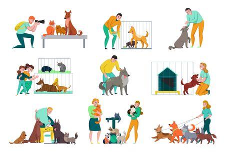 Animal shelter set of isolated compositions with human characters dogs and cats with cages and doghouse vector illustration