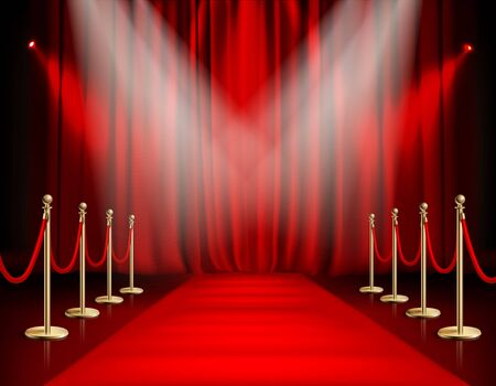 Awards show red background with carpet path golden barrier with rope on both sides and closed curtain realistic vector illustration