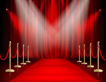 Les récompenses montrent un fond rouge avec une barrière dorée de chemin de tapis avec une corde des deux côtés et une illustration vectorielle réaliste de rideau fermé
