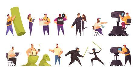 Film cinéma production équipe de tournage opérateur de caméra acteurs équipement costumes accessoires 2 ensembles horizontaux comiques illustration vectorielle Vecteurs