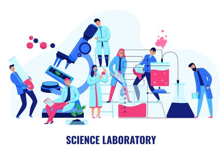 Scientists making biological and chemical experiments in science laboratory flat vector illustration