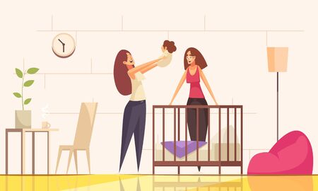 Sex homosexual lesbian child family composition with female characters of parents and baby with indoor environment vector illustration