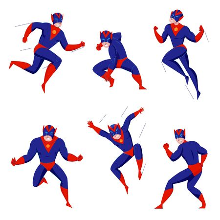 Superhero powerful super beast comics games blue bodysuit character in 6 action poses fighting flying jumping vector illustration 일러스트