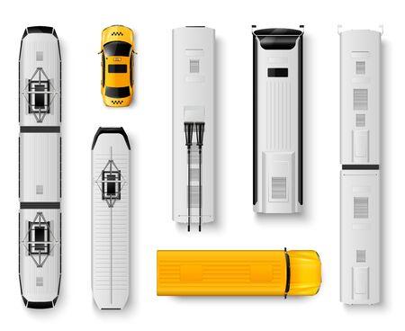 Realistische Ikonen der öffentlichen Verkehrsmittel der Draufsicht stellten mit Bustaxi-Straßenbahnzug lokalisiert auf weißer Hintergrundvektorillustration ein