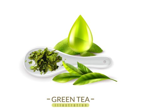Realistic green tea background with text and images of fresh green tea leaves spoon and drop vector illustration