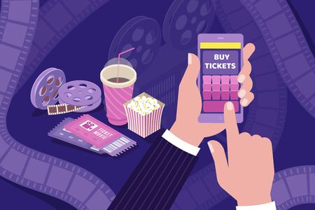 Buying cinema tickets online isometric composition with holding smartphone hand popcorn movie film bobbins background vector illustration
