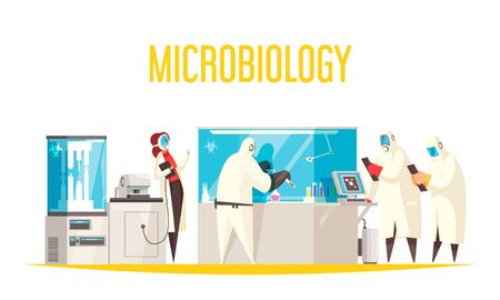 Microbiology laboratory composition with text and view of lab apparatus with scientist characters in biohazard suits vector illustration