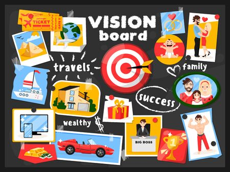 Dreams vision map chalkboard composition with cartoon style images pinned to black board with text captions vector illustration Illustration
