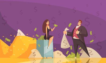 Homme riche utilisant la richesse pour attirer l'attention de la femme avec des tas de billets de banque illustration vectorielle d'affiche de fond de dessin animé plat