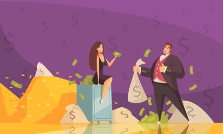 Rich man using wealth to get woman attention with banknotes heaps flat cartoon background poster vector illustration