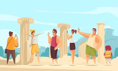 Composition de ruines d'excursion de guide avec paysage extérieur et ruines d'architectures anciennes avec illustration vectorielle de personnages touristiques curieux