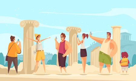 Guide excursion ruins composition with outdoor landscape and ruins of ancient architectures with curious tourist characters vector illustration Vettoriali