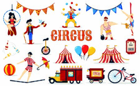 Circus set with isolated images of cartoon style performer characters tickets flags and circus big tops vector illustration Иллюстрация