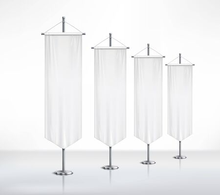 Monochrome composition with four isolated blanc pennants of different sizes  attached to metal pedestals standing on smooth surface realistic vector illustration