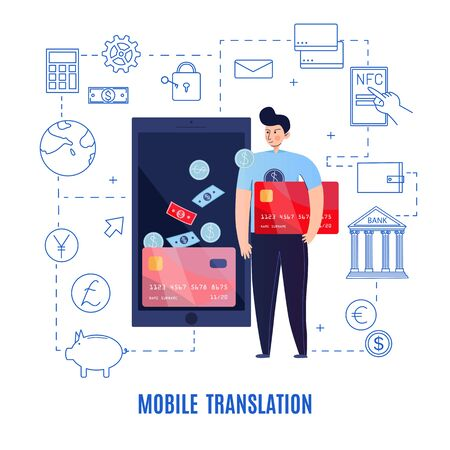 Mobile banking composition with text and financial pictograms connected with dashed lines with man and smartphone vector illustration