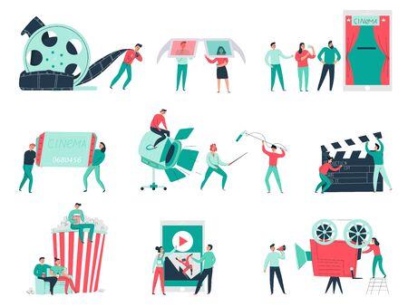 Flache Ikonen des Kinos stellten mit verschiedenen Ausrüstungen und Publikum des Filmemacherteams ein, die auf weißer Hintergrundvektorillustration lokalisiert wurden
