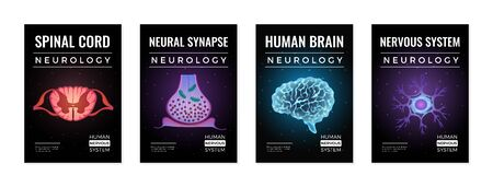 Neurology banners collection of four vertical compositions with editable text and glowing neon molecular brain images vector illustration